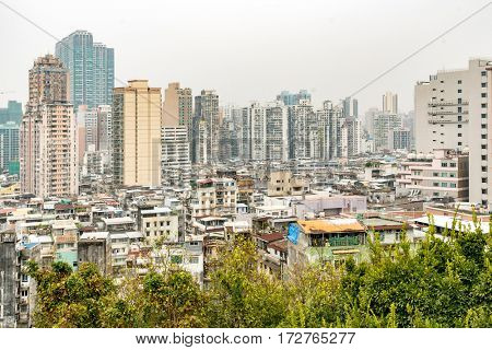 Macau old town cityscape skyline. Mocau now is part of China.