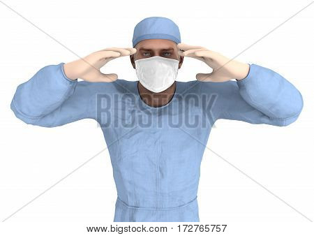 3D rendering of a male doctor isolated on white background