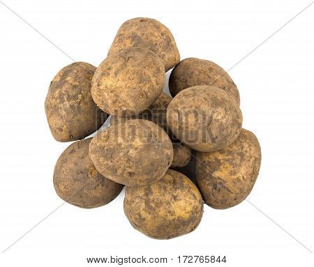 Heap Unwashed Raw Potatoes Isolated On White