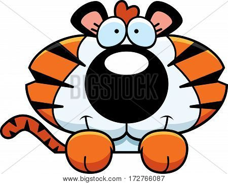 Cartoon Tiger Cub Peeking