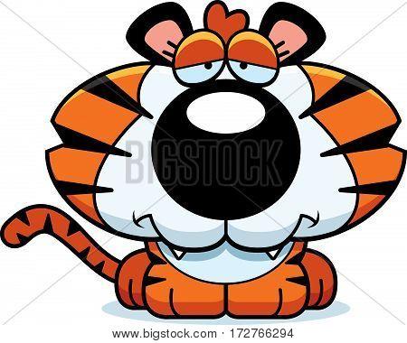 Cartoon Sad Tiger Cub