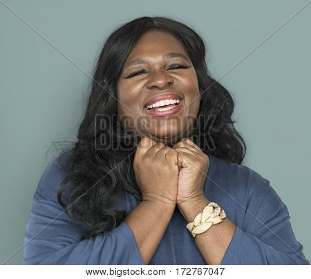 African descent woman happy glad emotion