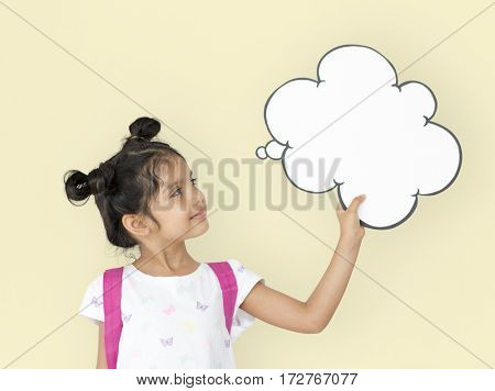 Little Girl Holding Papercraft Cloud