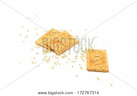 Cookies and grain on a white background