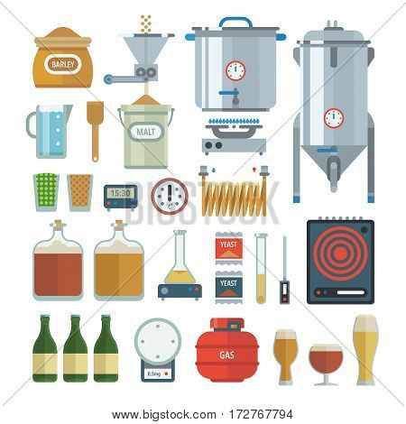 Home brewing process items. All you need for brew home made craft beer. Elements for home brewery. Mashing, cooling, fermentation, bottling. Creative vector collection.