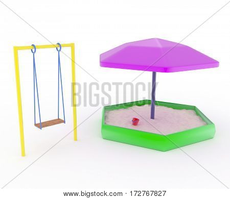 swings for children and children's sandboxes on a white background. 3D illustration