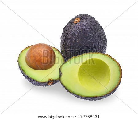 fresh half avocado isolated on white background