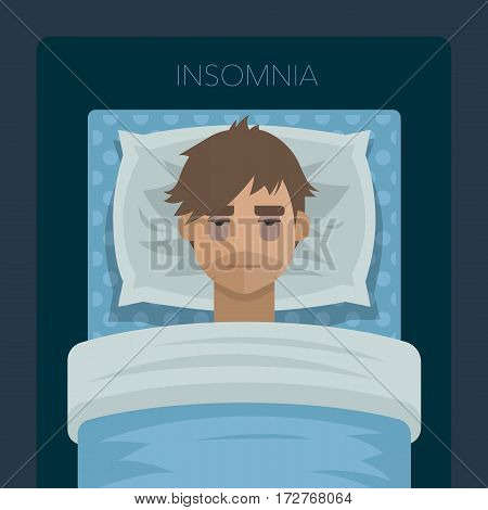 Young man with sleep problem. Man try to sleep on pillow in his bed under the blanket. Exhausting insomnia, no dreams. Vector illustration art.