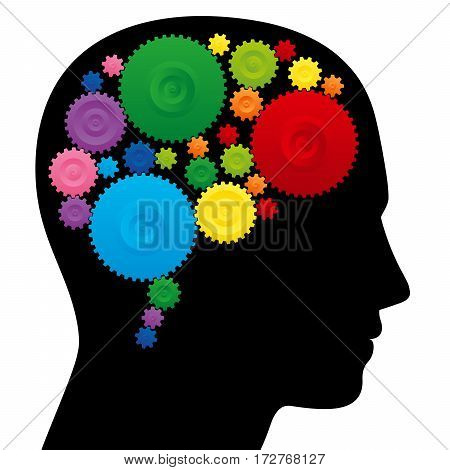 Brain with colorful cog wheels, as a symbol for creativity, ingenuity or intelligence.