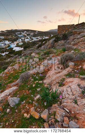 Agios Georgios village on Iraklia island in Lesser Cyclades, Greece.