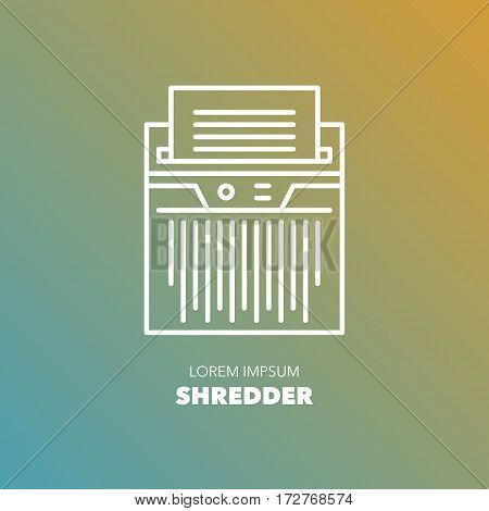 Unique detailed thin line logo for your event or business. Office or home technic and electronic device logo. Shredder for destroying documents and paper. Vector illustration element.