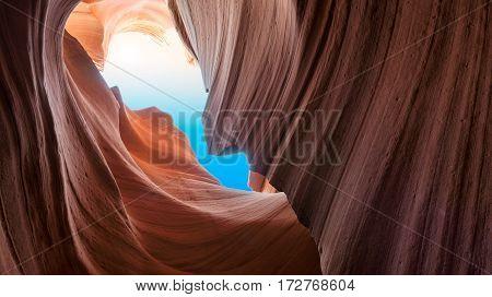 Beautiful cliffs at Antelope Canyon, Arizona USA.