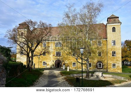 historic buildings and castle  of town Mosanmagyarovar in Hungary
