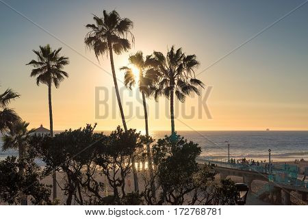 Manhattan Beach at sunset time in Southern California in Los Angeles.