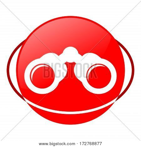 Red icon, binoculars vector illustration on white background