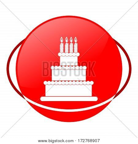 Red icon, birthday cake vector illustration on white background