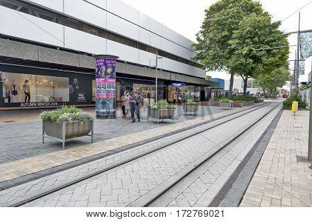Christchurch New Zealand - February 2016: Shop building on Cashell Street near Restart Mall
