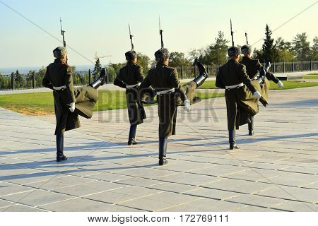 Honor guard on Mamaev hill in Russia