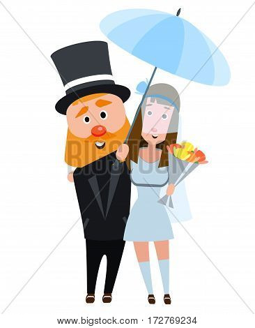 The bride and groom in an embrace. Happy romantic couple. Young people on a white background. The girl in a wedding dress and a man in a suit and an umbrella. Happy bearded man with a dark haired girl.