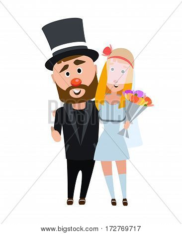 Newlyweds in an embrace. Happy romantic couple. Young people on a white background. The girl in a wedding dress and a man in a suit. Stylish bearded man in a hat with the dark haired girl.