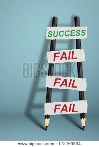 To success through failures creative concept pencil Ladder