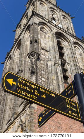 Tourist Sign In Front Of The Martini Tower In Groningen