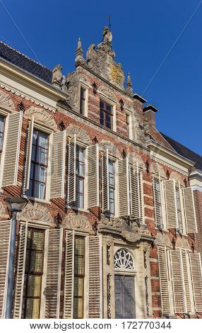 Old Decorated Facade With Blinds In Groningen