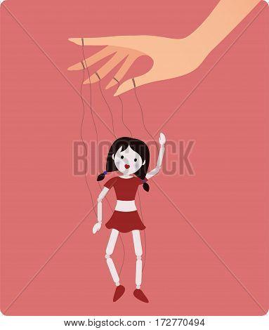 Marionette doll. Vector illustration. Cartoon flat style