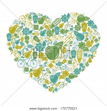 Postcard in the form of hearts with the environmental theme.
