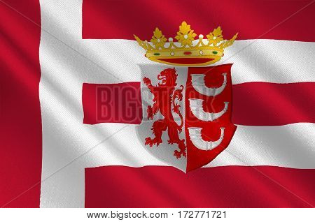 Flag of Eindhoven is a municipality and a city located in the province of North Brabant in the south of the Netherlands. 3d illustration