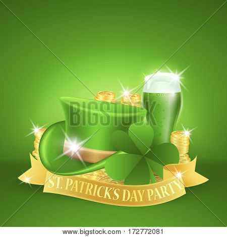 Saint Patricks Day Card with Green Hat and Golden ribbon whith lettering, Clover and Green Beer on Green Background. Vector Illustration.