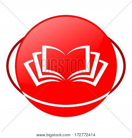 Red icon, book vector illustration on white background