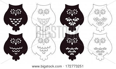 Vector set of owls. Stencils. Isolated on white background