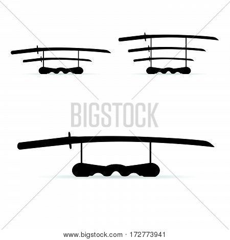 Samurai Sword Set In Black Color Illustration