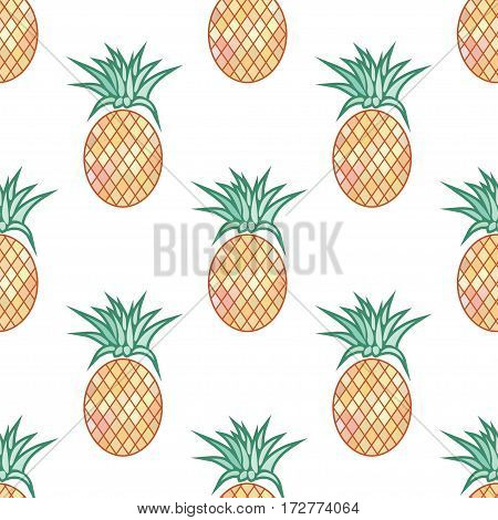 Vector Seamless Pattern with Pineapples On White Background