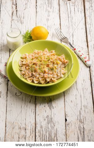 butterfly pasta with fresh salmon wild fennel and grated lemon peel