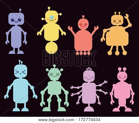 Vector Collection of Colorful Cartoon Robots isolated on black