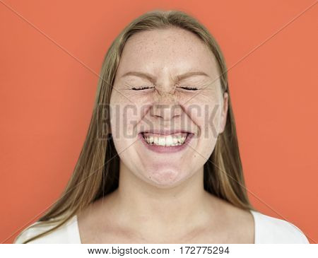 Caucasian Woman Happy Smiling Shoot
