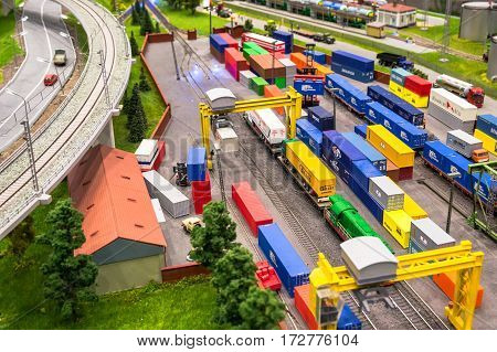 MOSCOW, RUSSIA - February 19, 2017. Model of railway cargo station