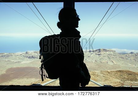 shape of man going up in the funicular that goes to the Teide in Tenerife