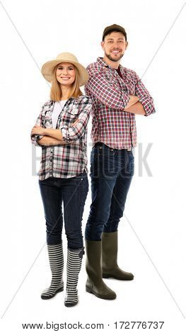 Young man and woman in plaid shirts isolated on white background