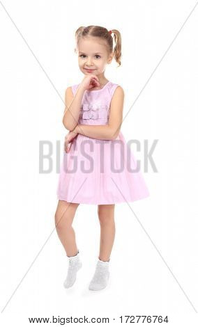 Cute little girl in beautiful dress isolated on white