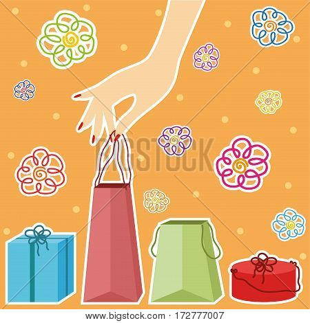 Vector hand holding a shopping bag. Shopping theme