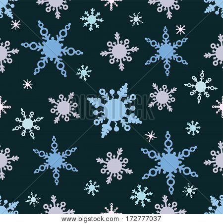 Seamless pattern with snowflakes in cartoon doodle style