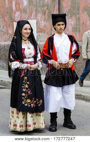 CAGLIARI, ITALY - May 1, 2016: 360 Feast of Saint Efisio - Sardinia - parade in traditional Sardinian costume