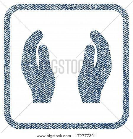 Applause Hands vector textured icon for overlay watermark stamps. Blue jeans fabric vectorized texture. Symbol with unclean design inside rounded rectangle.