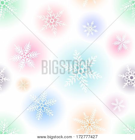 Seamless vector pattern with snowflakes isolated on white background