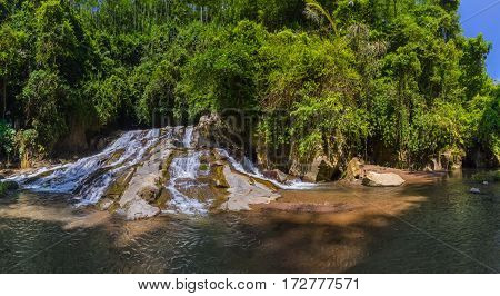 Rang-Reng Waterfall on Bali island Indonesia - travel and nature background