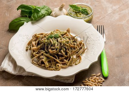integral tagliatelle with pesto