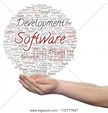Concept or conceptual software development project coding technology circle word cloud in hands isolated on background
